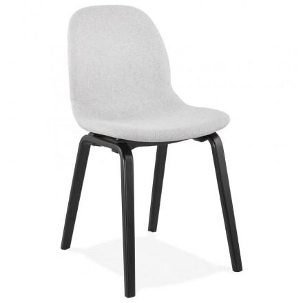 Chaise design et contemporaine en tissu pieds bois noirs MARTINA (gris clair)