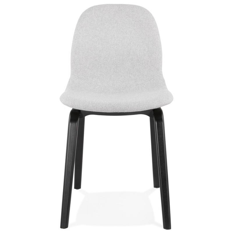 Chaise design et contemporaine en tissu pieds bois noirs MARTINA (gris clair) - image 47614