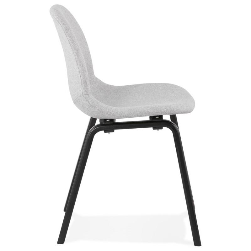 Chaise design et contemporaine en tissu pieds bois noirs MARTINA (gris clair) - image 47615