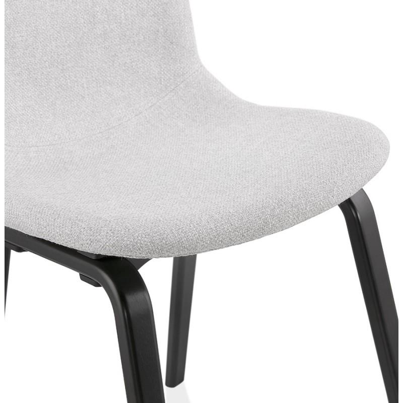 Chaise design et contemporaine en tissu pieds bois noirs MARTINA (gris clair) - image 47618