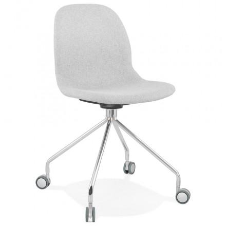 Chaise de bureau sur roulettes en tissu MARYA (gris clair)