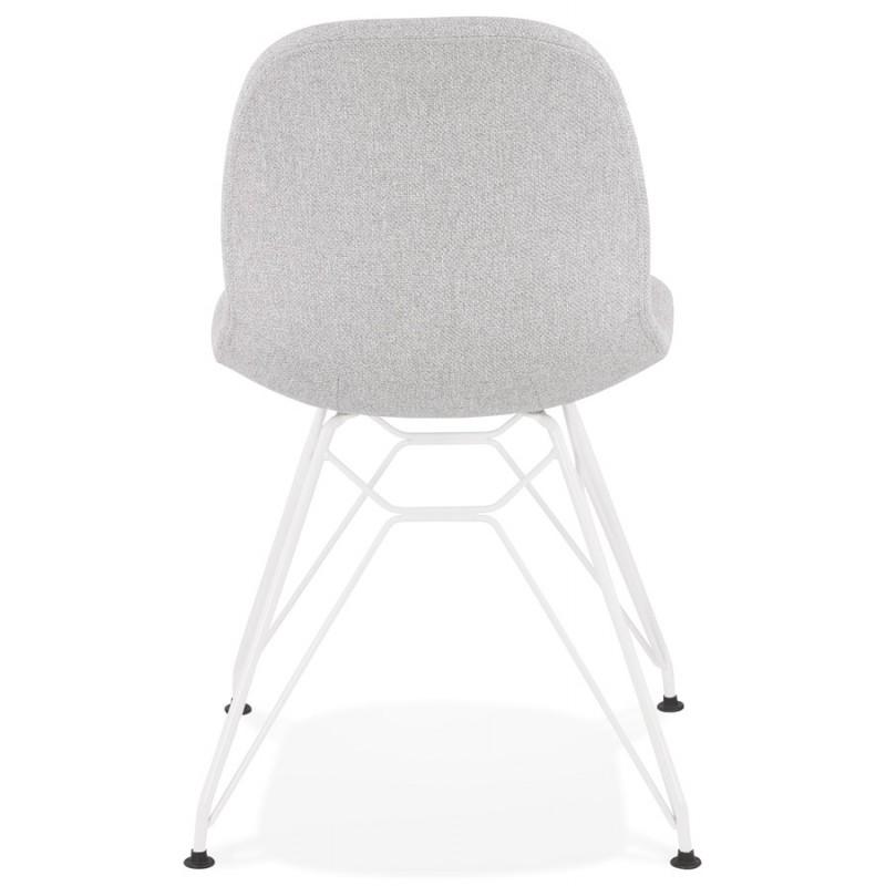 Chaise design industrielle en tissu pieds métal blanc MOUNA (gris clair) - image 47660