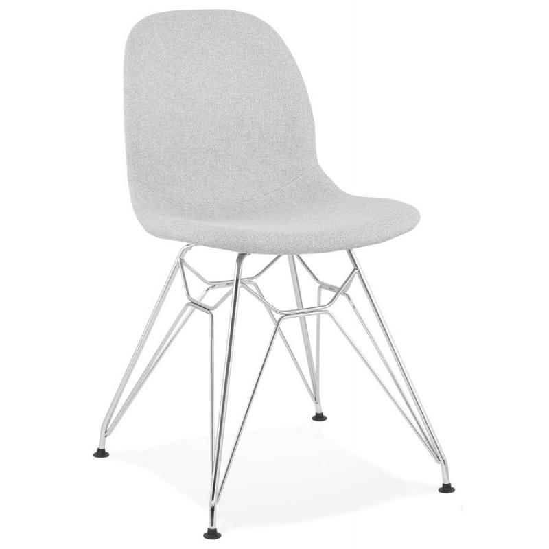 Chaise design industrielle en tissu pieds métal chromé MOUNA (gris clair)