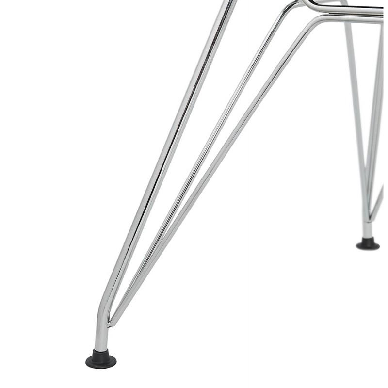 Chaise design industrielle en tissu pieds métal chromé MOUNA (gris clair) - image 47679