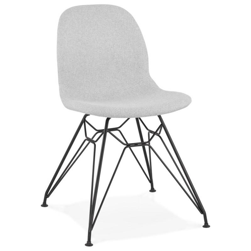 Chaise design industrielle en tissu pieds métal noir MOUNA (gris clair)