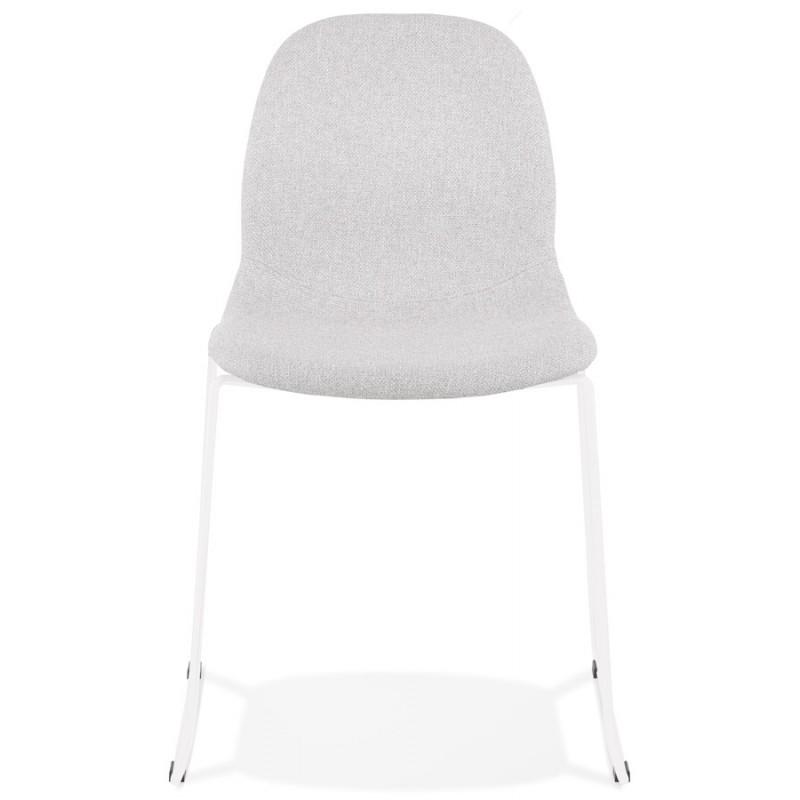 Chaise design empilable en tissu pieds métal blanc MANOU (gris clair) - image 47695
