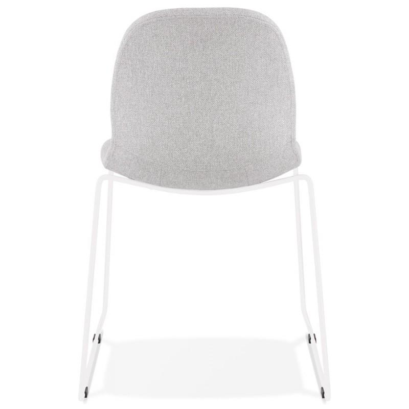 Chaise design empilable en tissu pieds métal blanc MANOU (gris clair) - image 47698