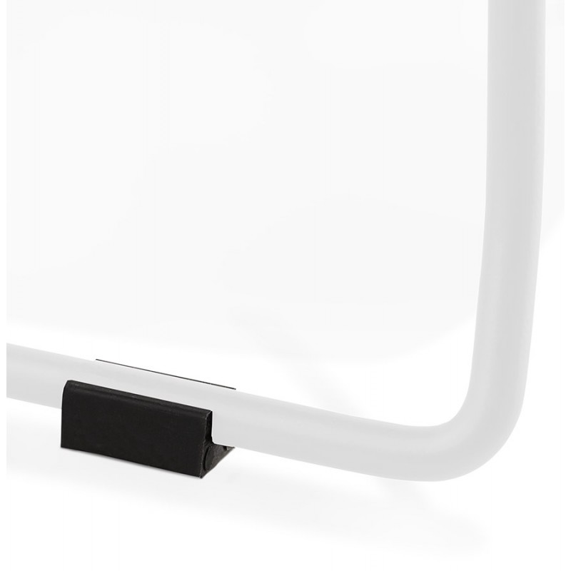 Chaise design empilable en tissu pieds métal blanc MANOU (gris clair) - image 47702