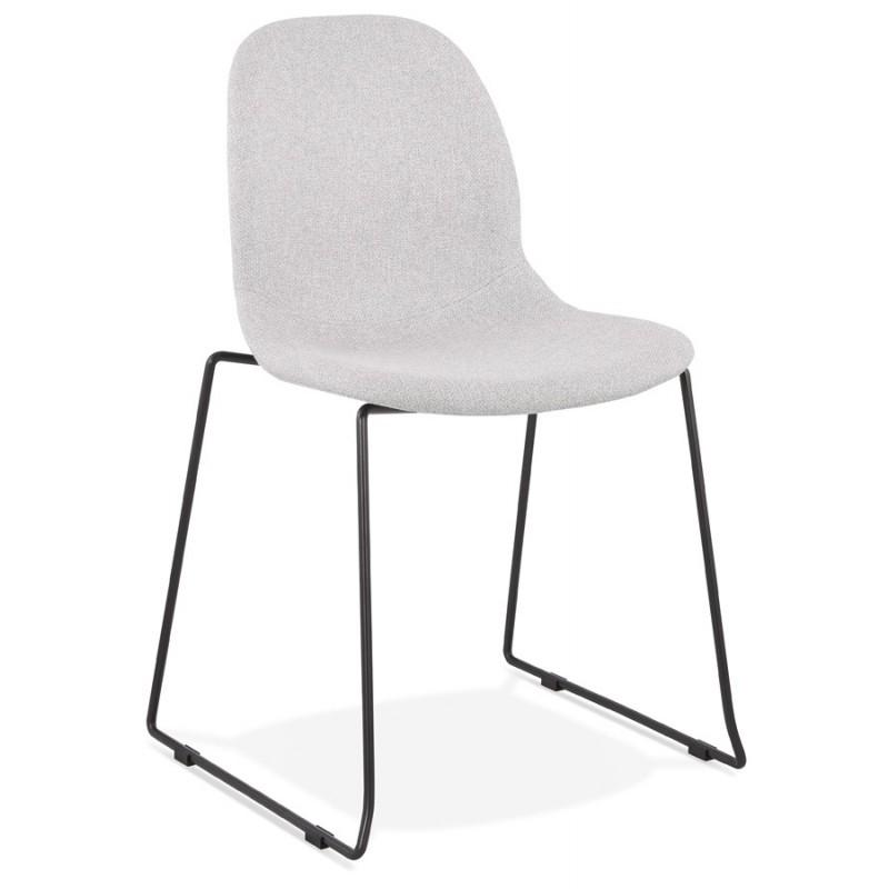 Chaise design empilable en tissu pieds métal noir MANOU (gris clair) - image 47703