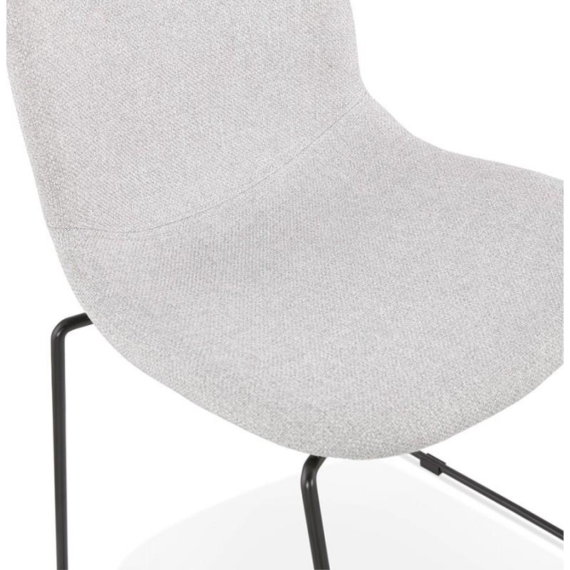 Chaise design empilable en tissu pieds métal noir MANOU (gris clair) - image 47708