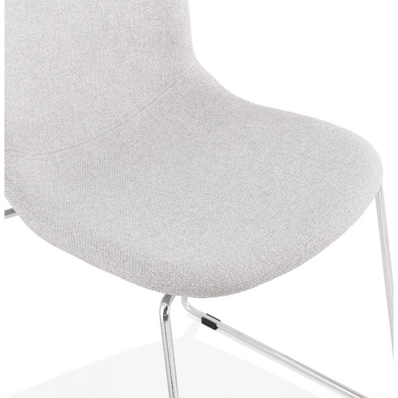 Chaise design empilable en tissu pieds métal chromé MANOU (gris clair) - image 47720