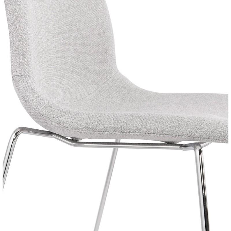 Chaise design empilable en tissu pieds métal chromé MANOU (gris clair) - image 47722