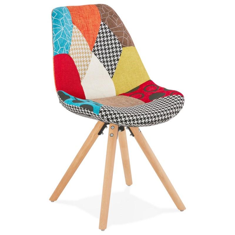 Chaise bohème patchwork en tissu pieds bois finition naturelle MANAO (multicolore)
