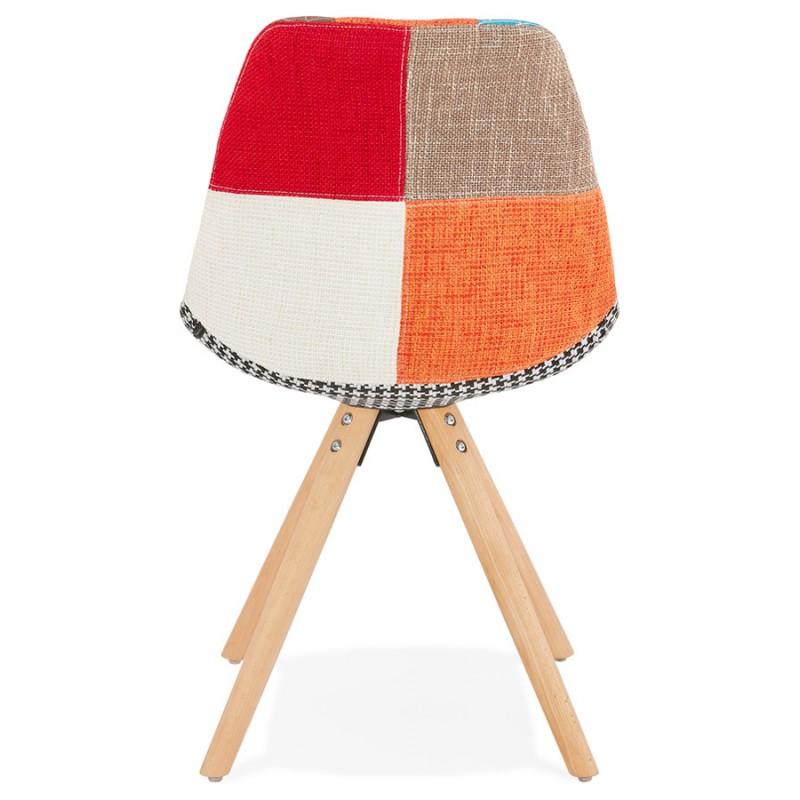 Chaise bohème patchwork en tissu pieds bois finition naturelle MANAO (multicolore) - image 47731