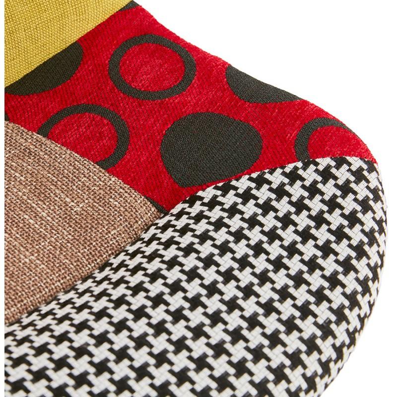 Chaise bohème patchwork en tissu pieds bois finition naturelle MANAO (multicolore) - image 47734