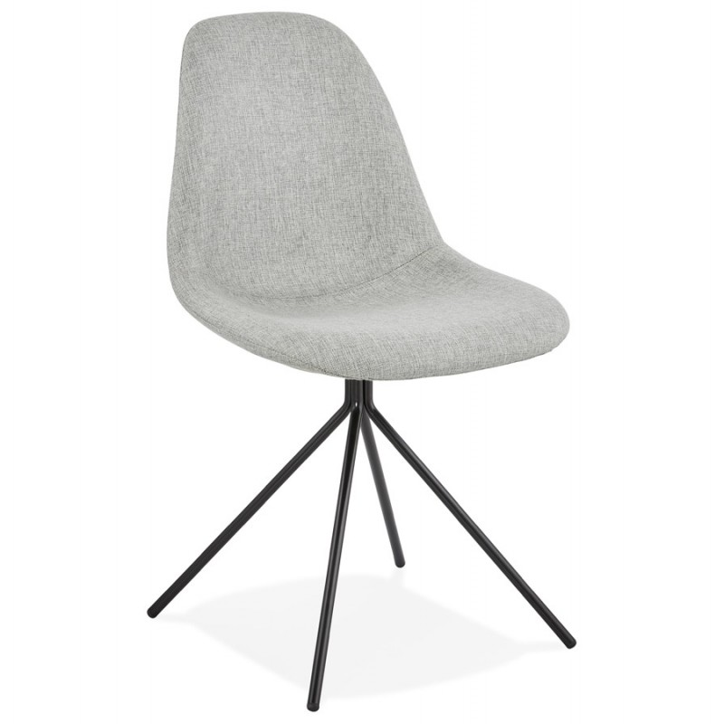 Chaise design et scandinave en tissu pieds métal noir MALVIN (gris clair)