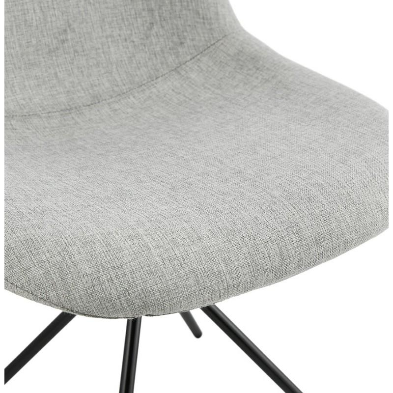 Chaise design et scandinave en tissu pieds métal noir MALVIN (gris clair) - image 47744