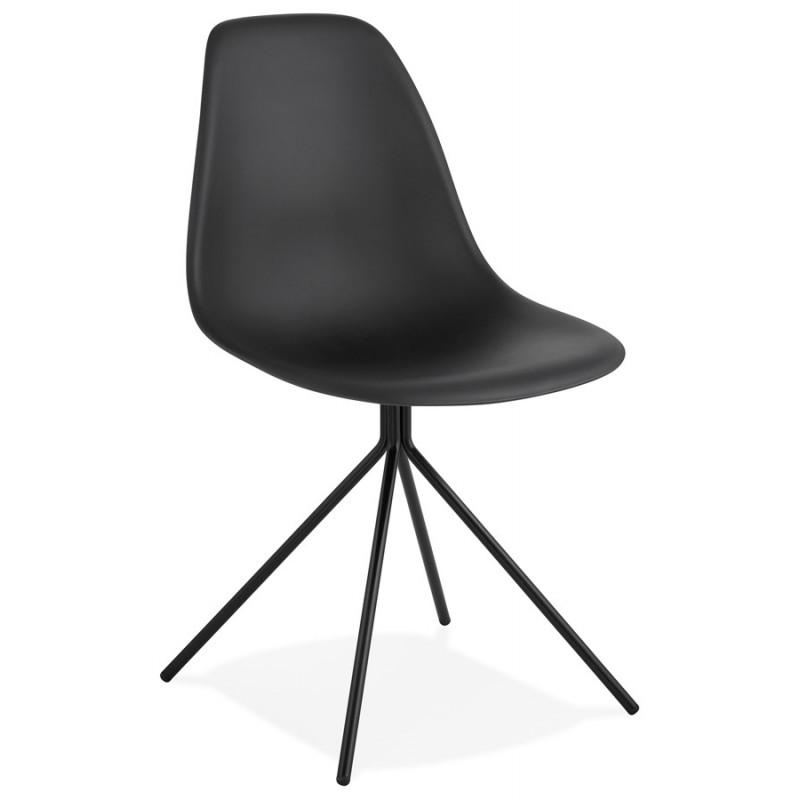Chaise design industrielle pieds métal noir MELISSA (noir)
