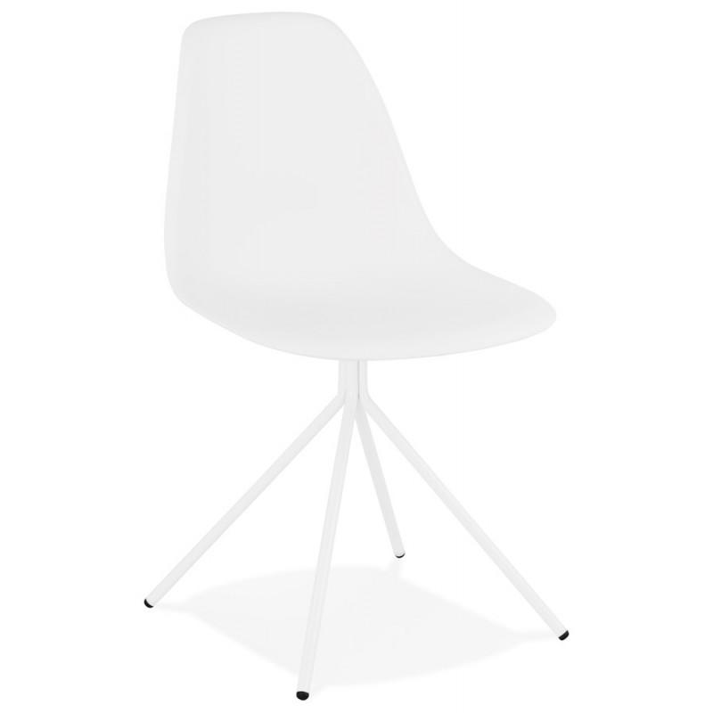 Chaise design industrielle pieds métal blanc MELISSA (blanc) - image 47768