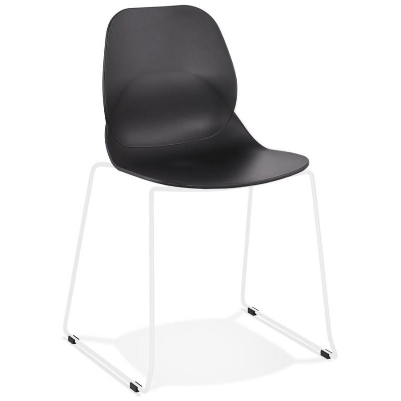 Chaise design empilable pieds métal blanc MALAURY (noir)