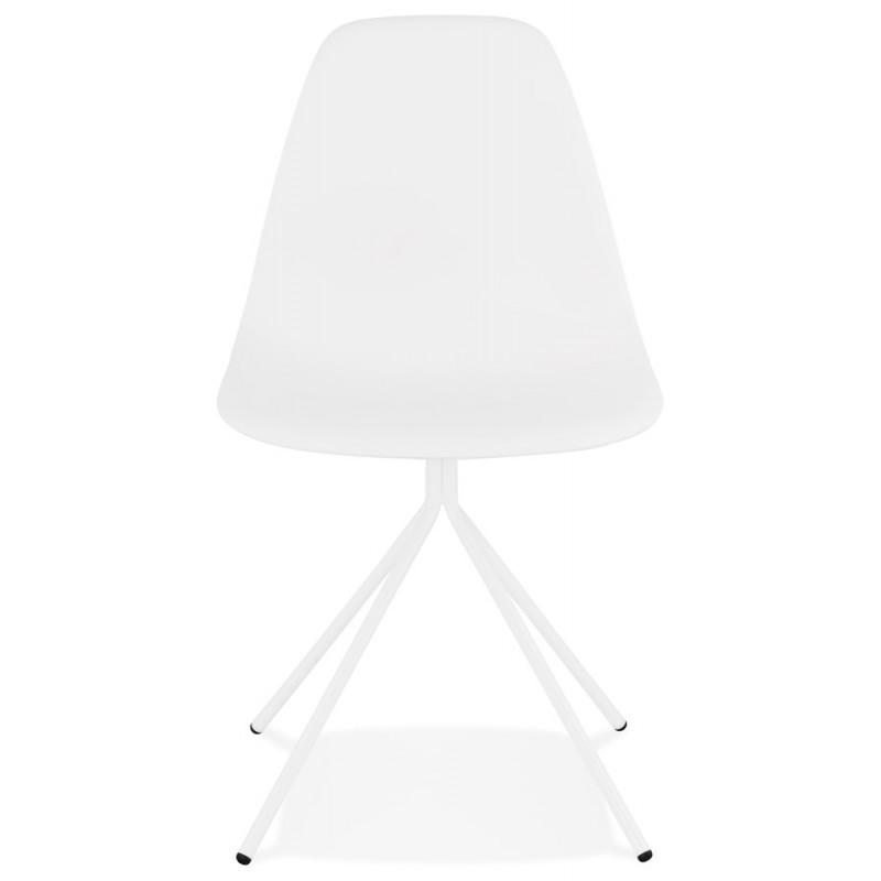 Chaise design industrielle pieds métal blanc MELISSA (blanc) - image 47770