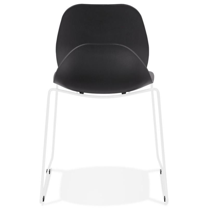 Chaise design empilable pieds métal blanc MALAURY (noir) - image 47777
