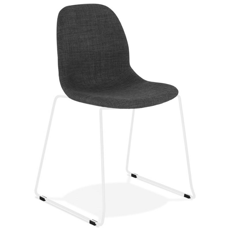 Chaise design empilable en tissu pieds métal blanc MANOU (gris foncé) - image 47788