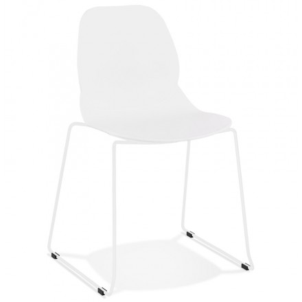 Chaise design empilable pieds métal blanc MALAURY (blanc)