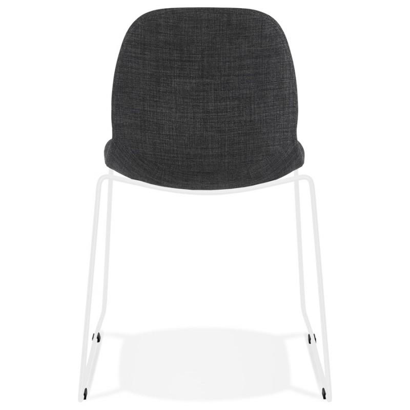 Chaise design empilable en tissu pieds métal blanc MANOU (gris foncé) - image 47795