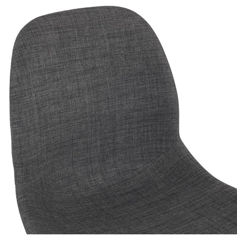 Chaise design empilable en tissu pieds métal blanc MANOU (gris foncé) - image 47797