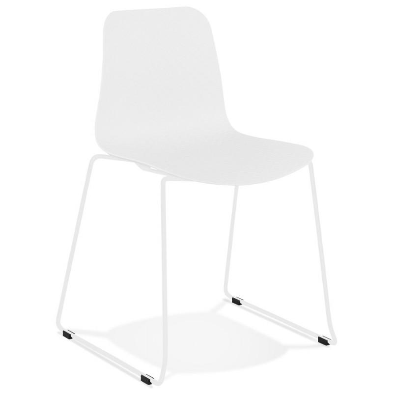 Chaise moderne empilable pieds métal blanc ALIX (blanc) - image 47806