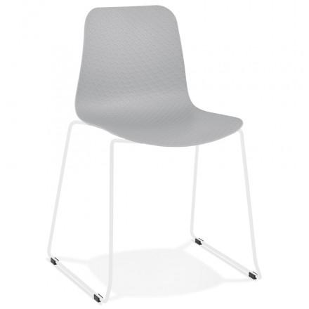Chaise moderne empilable pieds métal blanc ALIX (gris clair)