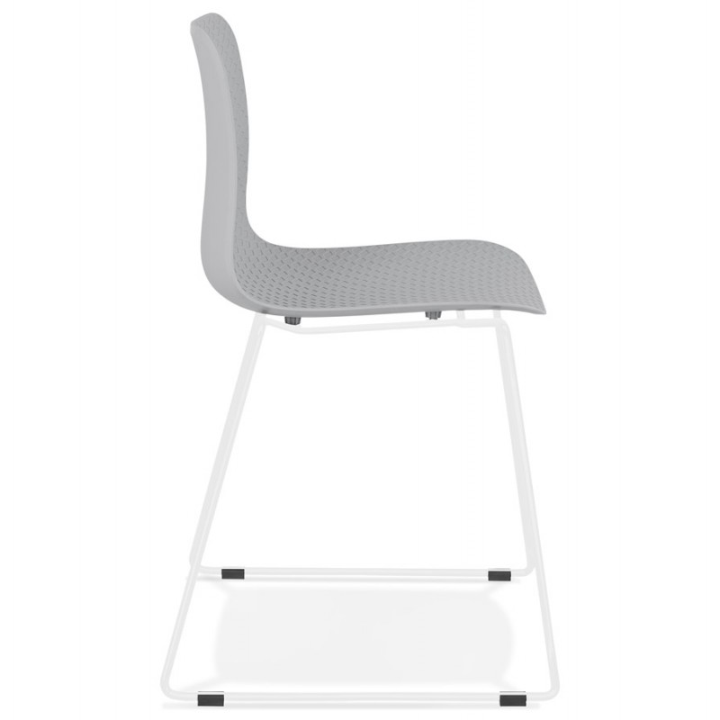 Chaise moderne empilable pieds métal blanc ALIX (gris clair) - image 47826