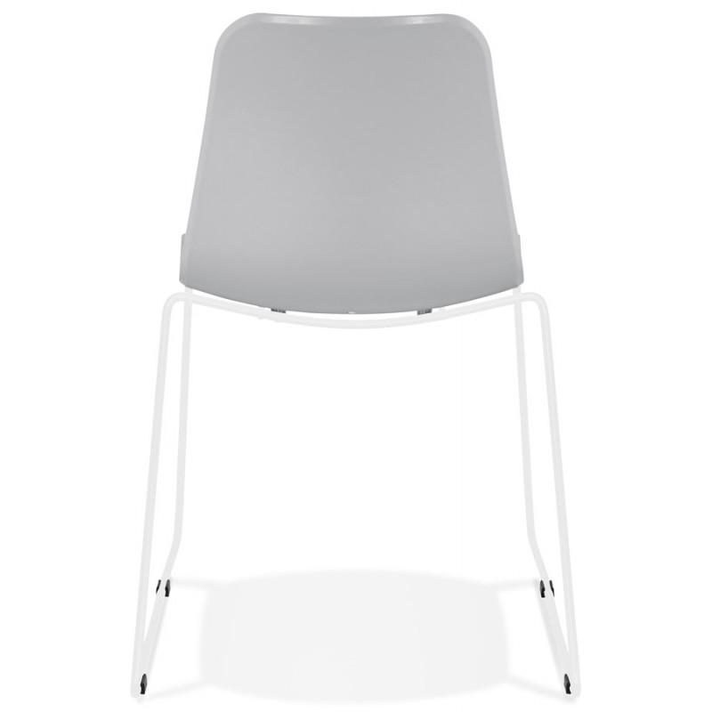 Chaise moderne empilable pieds métal blanc ALIX (gris clair) - image 47828