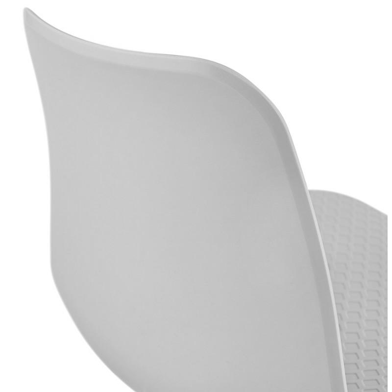 Chaise moderne empilable pieds métal blanc ALIX (gris clair) - image 47830
