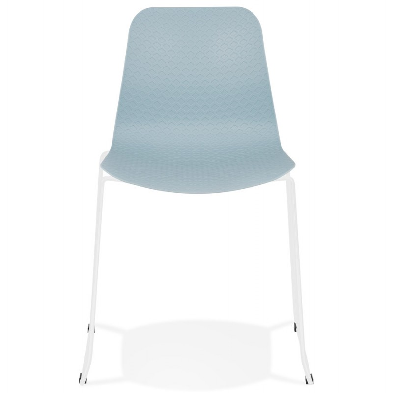 Chaise moderne empilable pieds métal blanc ALIX (bleu ciel) - image 47834