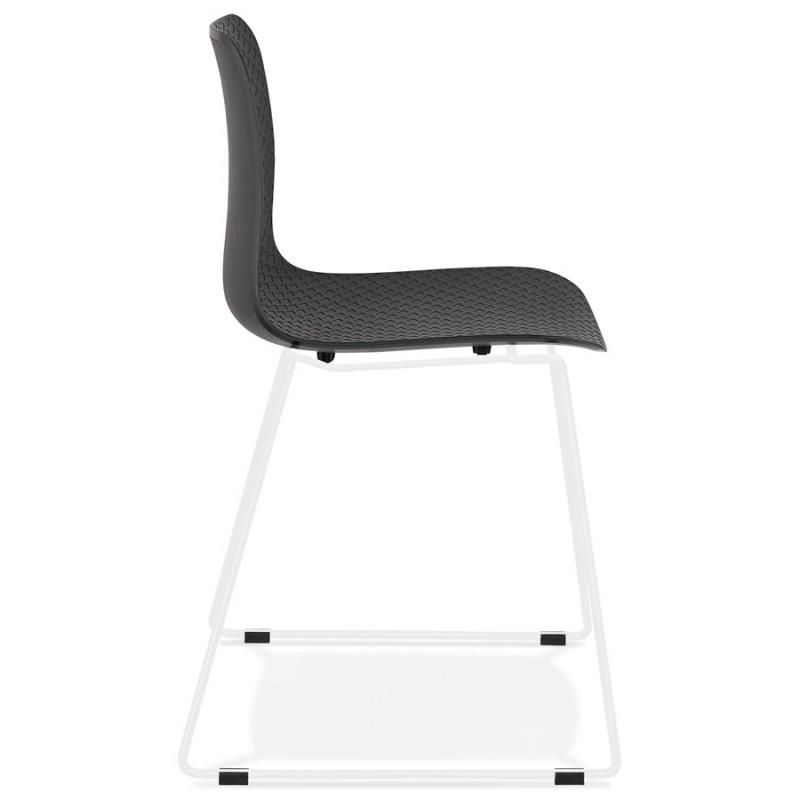 Chaise moderne empilable pieds métal blanc ALIX (noir) - image 47844