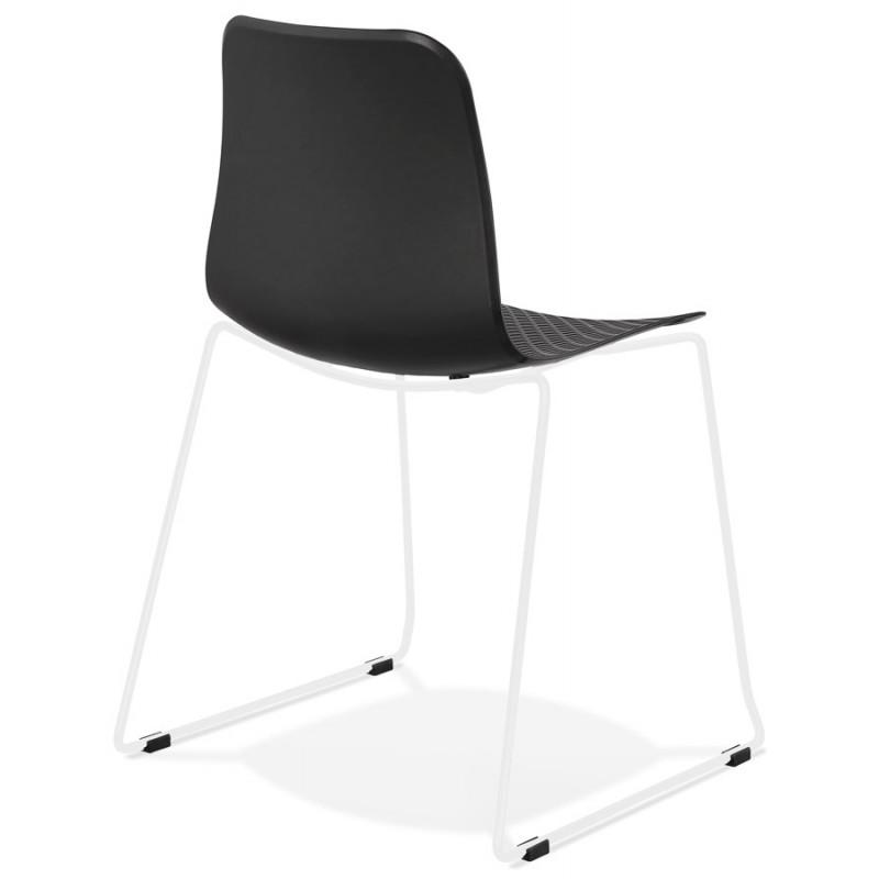 Chaise moderne empilable pieds métal blanc ALIX (noir) - image 47845