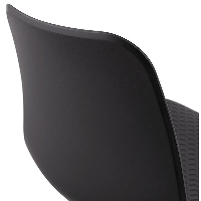 Chaise moderne empilable pieds métal blanc ALIX (noir) - image 47848