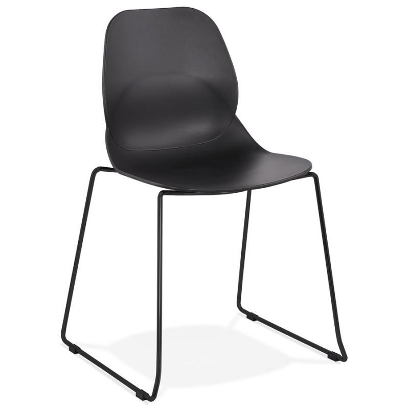 Chaise design empilable pieds métal noir MALAURY (noir)