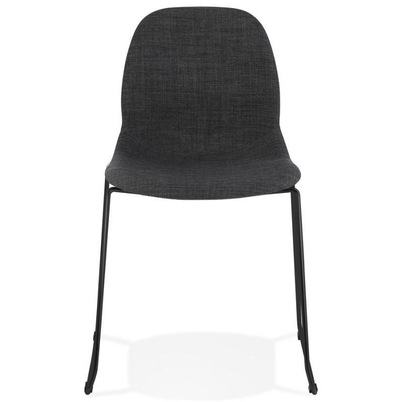 Chaise design empilable en tissu pieds métal noir MANOU (gris foncé) - image 47870