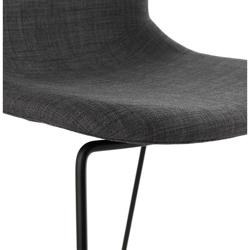 Chaise design empilable en tissu pieds métal noir MANOU (gris foncé) - image 47875