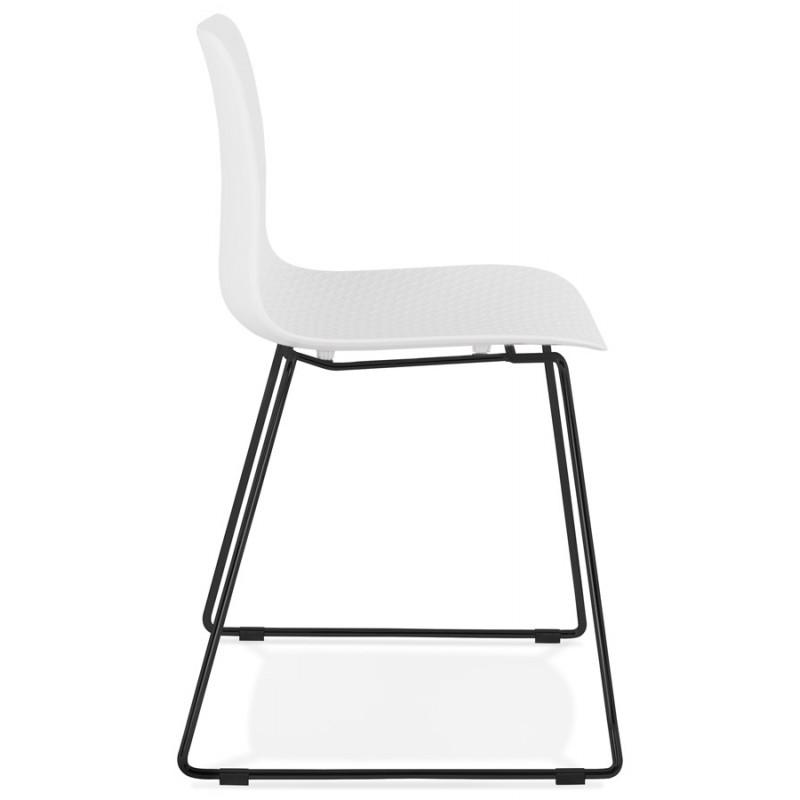 Chaise moderne empilable pieds métal noir ALIX (blanc) - image 47880