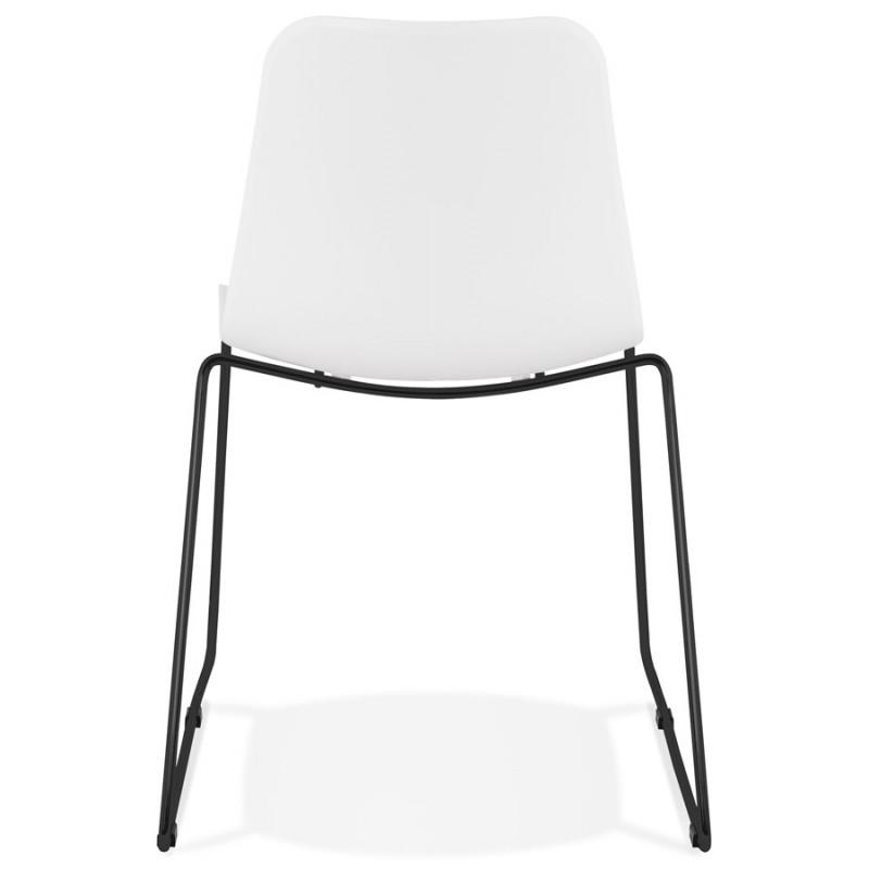Chaise moderne empilable pieds métal noir ALIX (blanc) - image 47882