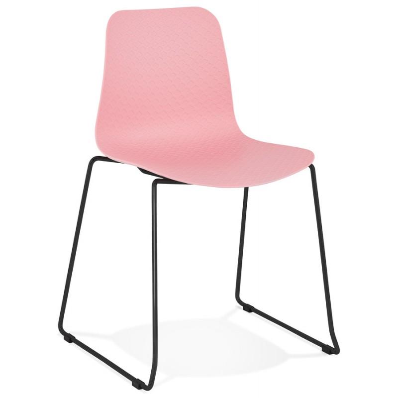 Chaise moderne empilable pieds métal noir ALIX (rose)