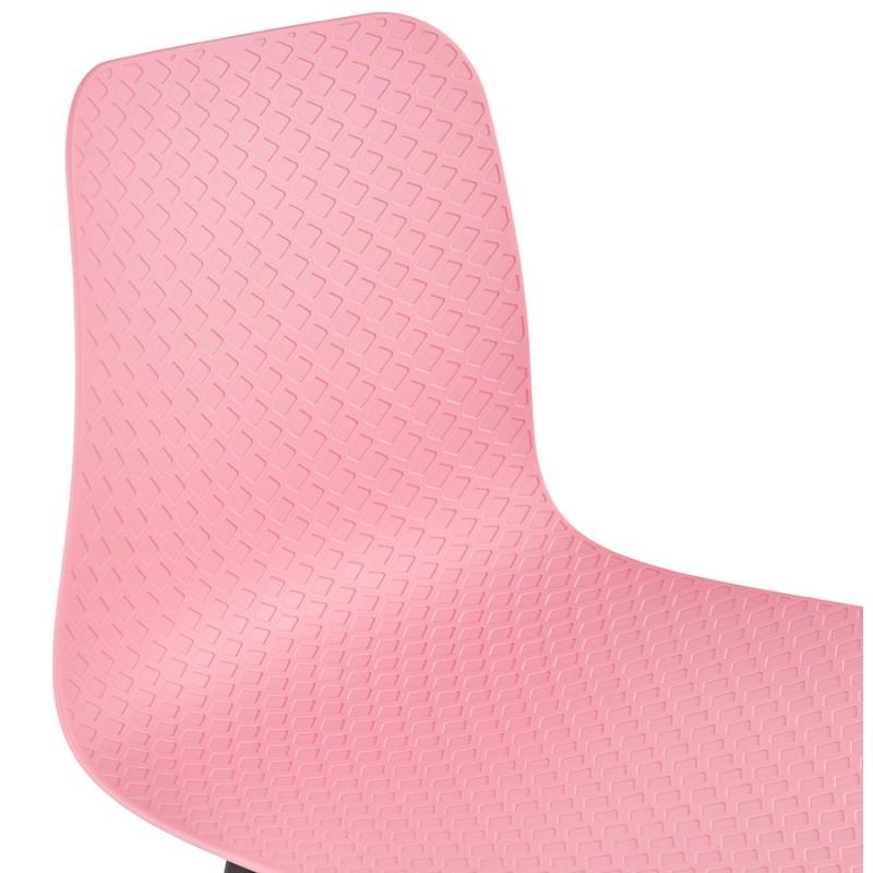 Chaise moderne empilable pieds métal noir ALIX (rose) - image 47892