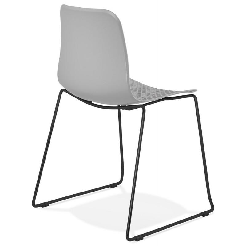 Chaise moderne empilable pieds métal noir ALIX (gris clair) - image 47899