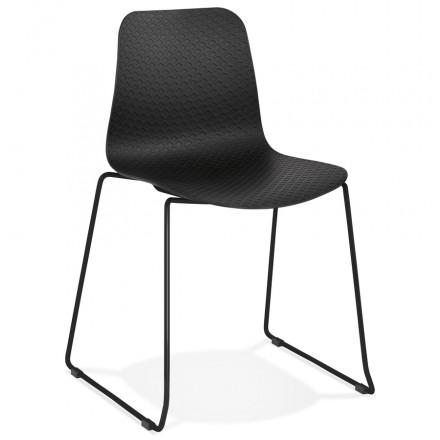 Chaise moderne empilable pieds métal noir ALIX (noir)