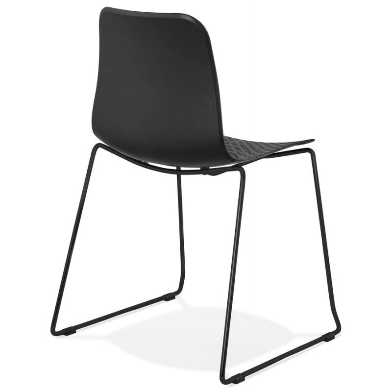Chaise moderne empilable pieds métal noir ALIX (noir) - image 47917