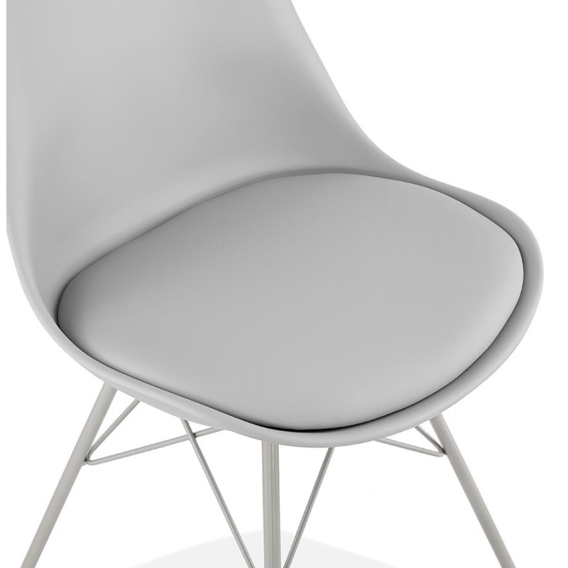 Chaise design style industriel SANDRO (gris clair) - image 47928